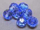8mm 100/200/300/400/500pcs CLEAR BLUE FACETED ACRYLIC PLASTIC ROUND BEADS TY3048