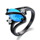 Size6-10 Marquise Cut Blue Fire Opal S Shape Ring Black Gold Women Wedding Gift