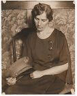 Sad Large 1920s Photo of Wife holding Hat of Deceased San Francisco Policeman