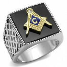 Lucia's  Men's Stainless Steel 316 Two Tone IP Gold Jet Black Agate Masonic Ring