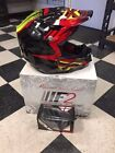 FLY F2 CARBON HELMET SHORTY BLACK/RED/LIME XL WITH BLACK FLY FOCUS GOGGLES