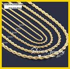 18k Yellow Gold Gf Solid Twist Wave Rope Chain Mens Ladies Girls Long Necklace
