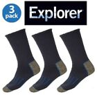 3 Pairs Holeproof Explorer Impact Cotton Blend Mens Hiking Work Socks 6 10 11 14