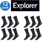 12 Pairs Holeproof Explorer Impact Cotton Blend Mens Hiking Work Socks 6 10 14
