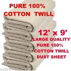 FULL SIZE 12FT X 9FT PROFESSIONAL QUALITY 100% COTTON TWILL DUST SHEET 24HR DEL!