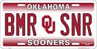 "University of Oklahoma Sooners OU BMR SNR 6""x12"" Aluminum License Plate Tag"