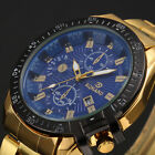 Mens Black Dial Gold Stainless Steel Date Quartz Analog Sport Wrist Watch HZ
