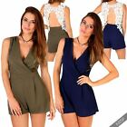 Womens Ladies Open Lace Back Tailored Sleeveless Playsuit Romper Wrap Vest Top