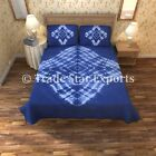 Indigo Shibori Art Bedding Decorative Indian Cotton Tie Dye Hand Dyed Bedspread