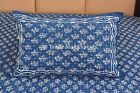 Indian  Block Print Queen Bedspread With 2 Pillow Covers Boho Indigo Bedding