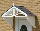 White frame Kelmarsh door rain canopy with choice of roof tile colours