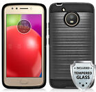 For Motorola Moto E4 / Moto E(4th Gen) Brushed Hard Cover Case w/ Tempered Glass