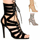 NEW LADIES WOMENS HIGH HEEL CUT OUT LACE UP PARTY SANDAL OPEN TOE SHOES SIZE 3-8
