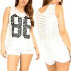 Womens Sleeveless 86 Gold Stripes Ladies Curved Hem Sports Gym Hi Lo Vest Top