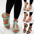 New Womens Flat Sandals Pearls Peep Toe Ankle Strap Summer Comfy Shoes Sizes UK