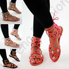 New Womens Flat Sandals Peep Toe Ankle Back Lace Up Gladiator Beach Comfy Shoes