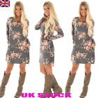 UK Womens Long Sleeve Floral Dress Ladies Crew Neck Loose Casual Shirt Dress