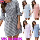 UK Womens Striped Skater Dress Ladies Crew Neck Casual Party Mini Dress 6 - 16