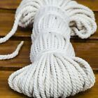 Cotton Rope Natural Pure 3 Strand Braided Twisted Cord Twine 6/12mm 25m Diameter