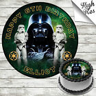 STAR WARS EDIBLE ROUND BIRTHDAY CAKE TOPPER DECORATION PERSONALISED