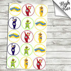 """TELETUBBIES 1.5"""" & 2"""" ROUND EDIBLE CUPCAKE TOPPERS"""