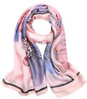 Women Ladies Silk Floral Long Solf Neck Shawl Scarf Stole Wrap Scarves Pashmina