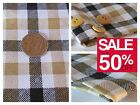 100% Cotton Check Beige & White Quilting Backing Shirts £££ OFF