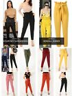 WOMEN'S LADIES  Inspired Celeb's PLEATED High WAIST CIGARETTE TROUSERS With Belt