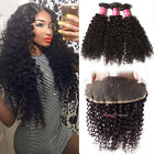 13*4 Brazilian Curly Hair Lace Frontal Closure With Virgin Human Hair 3 Bundles