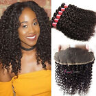 US Stock Indian Curly Human Virgin Hair 3 Bundles With 13*4 Lace Frontal Closure