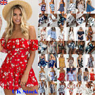 UK Womens Holiday Mini Playsuit Floral Jumpsuit Summer Beach Dress Hot 16 Style