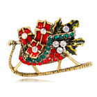 Vintage Cartoon Christmas Gift Crystal Brooches Pins For Party Handmade Craft 1P