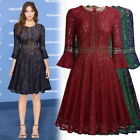 Women's Vintage Full Lace Overlay Cocktail Evening Wedding Party Dress