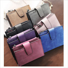 Student simple card zipper purse retro button matte lady Girl short wallet