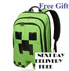 Minecraft Backpack School bag Boys Green Creeper School FREE NEXT DAY DELIVERY