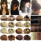 Straight Front Bride Hair Bun Updo Real Bang Cover Hair Extensions Hairpiece