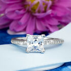 1.25 CT Carat Engagement Promise RING Brilliant PRINCESS CUT Solid Silver Peyton