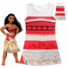 Moana Girls kids Costume Clothes Princess Sleeveless Party Cosplay Dress 2-7Y