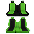 Fits 2007 to 2014 Chevrolet Silverado 40-20-40 Black and Lime Green Seat Covers