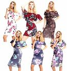 New Womens Summer Bold Floral Print Ruffle Cold Shoulder Bodycon Midi Dresses