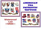 AMERICAN USA PATRIOTIC states temporary TATTOOS X4 LAST 1WEEK  waterproof tattoo