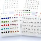 40Pcs Mixed Color Crystal Ear Stud Plastic Earrings Fashion Jewelry 2.5mm-5mm