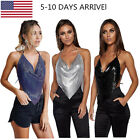 Womens Deep V-neck Blouses Nightwear Mini Tank Tops Lace up Clubwear Shirts Hot