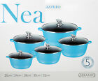TURQ BLUE INDUCTION COOKWARE 5PC NON STICK CERAMIC COATED DIE-CAST CASSEROLE SET