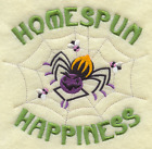 HOMESPUN HAPPINESS HALLOWEEN SPIDERS Made To Order Embroidered Kitchen Towel