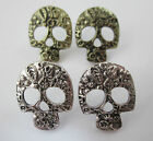 PAIR of Sugar Skull Stud Earrings in Bronze or Silver - Goth Emo Witch Halloween