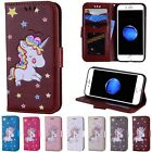 Stand Holder Flip PU Leather Popular Painted Wallet Card Case Cover For iPhone