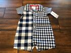 NWT Carter's Blue White One piece Romper Outfit Sunsuit Plaid Check NB 0 3 6 9 m