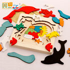 wooden toy wood puzzle cartoon animal story multilayer fire truck school bus set