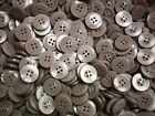 18mm 28L Light Brown & Silvery Grey Pearlescent 4 Hole Children Button (W341)